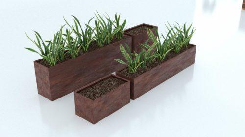 Cortenstål plantekasse rektangulær