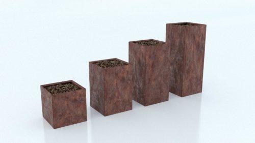 Cortenstål plantekasse kvadratisk